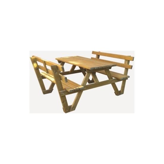 Garden Mobilya Sırt Dayamalı Piknik Masası 6 Kişilik Natural