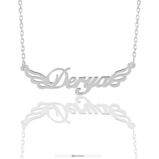 Dzg Silver İsimli Kolye Figürlü Kişiye Özel İsimlik Kolye Bayan Gümüş Kolye 468Dn