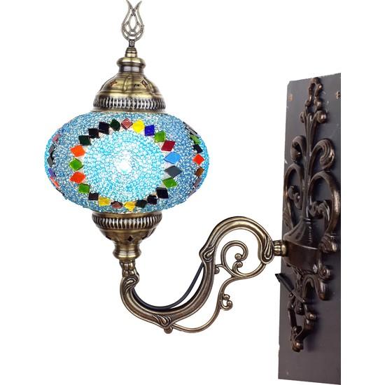 Mozaik Aplik Otantik Gece Lamba El Yapımı Mozaik Bahçe Lambası