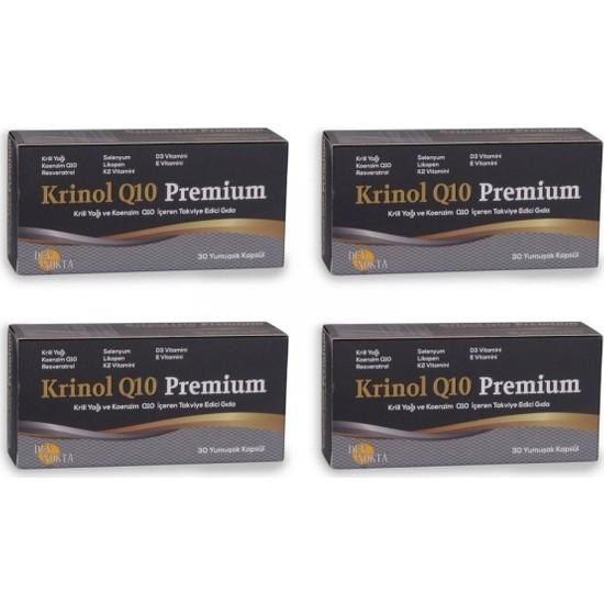 Krinol Q10 Premium - Krill Yağı ve Koenzim Q10 - 30 Kapsül - 4 Kutu