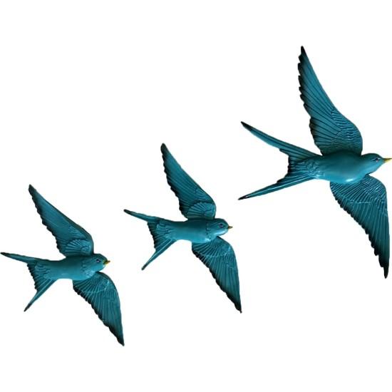 CajuArt Üçlü Kırlangıç Duvar Süsü Üçlü Kuş Duvar Aksesuarı Turkuaz Renk