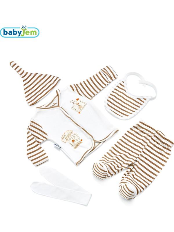 BabyJem Puanlı Premature Zıbın Seti (5'Li) / Fuşya Puanlı