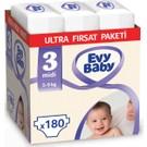 Evy Baby Bebek Bezi 3 Beden Midi Ultra Fırsat Paketi 180 Adet
