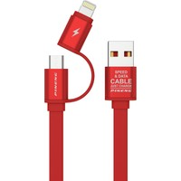 Pineng PN-304 Lightning ve Micro USB Kırmızı Kablo