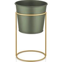The Mia Çiçeklik Ayaklı 21 Cm - Gold Ayakı Haki Yeşil Saks