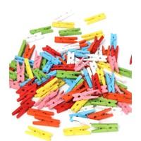 Elite Mandal 50 Adet Renkli Ahşap Mini MandalSüsleme Malzemesi ( 2,5 cm)