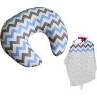 Bebekister Bebek Emzirme Oturma Destek Yastığı Minderi Ve Önlük Mavi