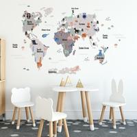 Tilki Dünyası Eğitici Gri - Koyu Gri Renkli Dünya Atlası Haritası Çocuk ve Bebek Odası Duvar Sticker