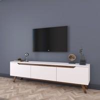 Rani D1 Tv Duvar Ünitesi Ahşap Ayaklı Tv Sehpası Beyaz Ceviz