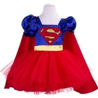 Pan Kostüm & Tasarım Super Hero Dc Girl Kostümü Kırmızı Etekli