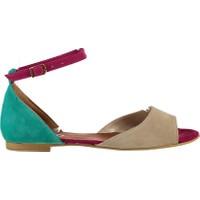 Fox Shoes TenFuşyaYeşil Kadın Sandalet B726555002
