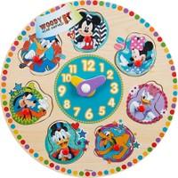 Woody Disney Mickey Mouse Ve Arkadaşları Ahşap Raptiyeli Bul Tak Yapboz Saat