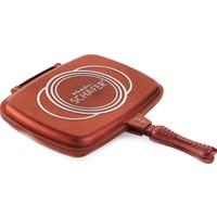 Schafer Granit Gloria Grill Pan Çift Taraflı Tava 32 cm - Kırmızı