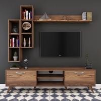 Rani A9 Duvar Raflı Kitaplıklı Tv Ünitesi Duvara Monte Dolaplı Modern Ayaklı Tv Sehpası Ceviz M16
