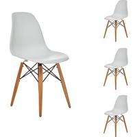 Seduna Beyaz Eames Sandalye - 4 Adet - Natural Ahşap Ayaklı