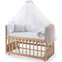 Heyner Ahşap Organik Beşik Anne Yanı Beşik 3 Kademeli Lüx Bebek Beşiği 60 x 120 cm - Krem Güpür Uyku Setli & Soft Ortopedik Yataklı