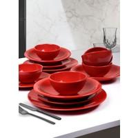 Keramika Ege Kırmızı Yemek Takımı 24 Parça 6 Kişilik