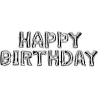 Kbk Market Gümüş Renk Happy Birthday Folyo Harf Balon Seti