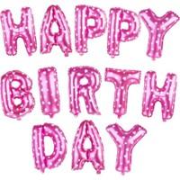 KBK Market Pembe Renk Happy Birthday Folyo Harf Balon Seti