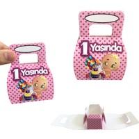 Can Karton Çanta 25 Adet 1 Yaş Doğum Günü Hediyelik Tutmalı Mini Karton Çanta Pembe ( 8 cm * 6 cm )