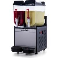 Samixir Ice Slush Twin Meyve Suyu Dispenseri, 12+12 L, Inox Siyah