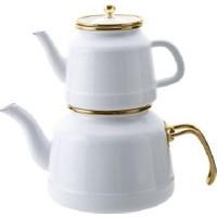 Emsan Troy Emaye Nostalji Çaydanlık Takımı Beyaz