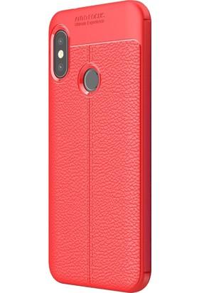 Microsonic Xiaomi Mi A2 Lite Kılıf Deri Dokulu Silikon Kırmızı