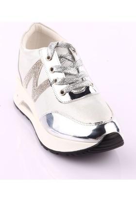 Guja 18K355-1 Kadın Kalın Air Taban Sneakers Spor Ayakkabı Gümüş