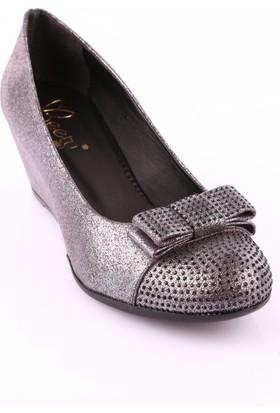 Beety 30453 Kadın Önü Taşlı Dolgu Topuk Ayakkabı Füme Lazer