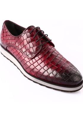 Dgn 9412-504 Erkek Eva Taban Bağcıklı Klasik Ayakkabı Bordo Kroko