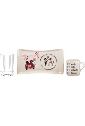 Yavuz Tepsili Damat Kahve Fincanı ( Tepsi 7 cm * 9 cm ) ( Fincan 8 cm) (Bardak 8 cm*5 cm) ( 3 lü Set)