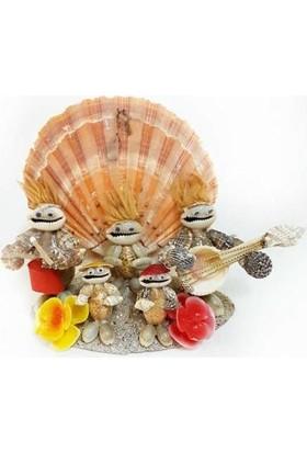 Turkuaz Doğal Deniz Kabuğu ile Tasarlanmış Çalgıcı Ailesi Biblo Hediyelik 19 cm * 15 cm