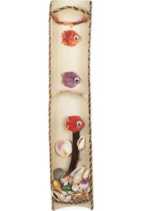Turkuaz Doğal Deniz Kabuğu Ve Bambu ile Tasarlanmış Duvar Dekoru Hediyelik 11 cm * 46 cm
