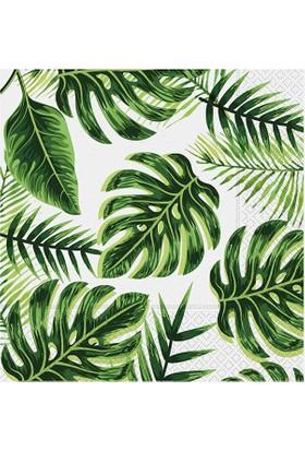 PartiBulutu Altın Simli Yapraklar Kağıt Peçete Yeşil 33x33cm