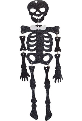 PartiBulutu Halloween Asma Süs Simli İskelet 50 cm Siyah