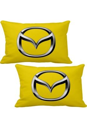 Asr Mazda Logo 2 Li Lüks Araç Boyun Yastığı Sarı