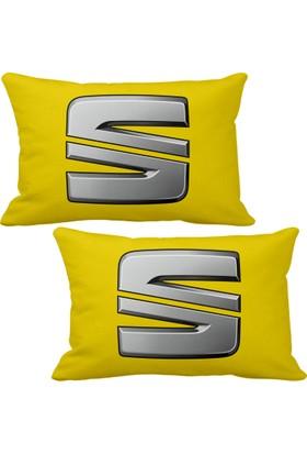 Asr Seat Logo 2 Li Lüks Araç Boyun Yastığı Sarı