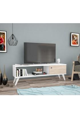 Ankara Mobi̇Lya Yunus Beyaz Meşe 120 Cm Tv Sehpası