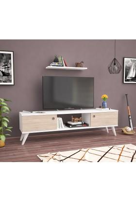 Ankara Mobi̇Lya Emre Beyaz Meşe 140 Cm Tv Sehpası