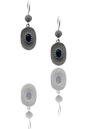 Ninova Silver Oval Safir Taşlı Model Midyat Telkari İşçiliği Gümüş Küpe