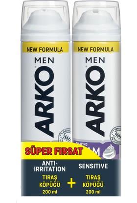Arko Men 2'li Tıraş Köpüğü Sensitive & Anti Irritation 200 ml