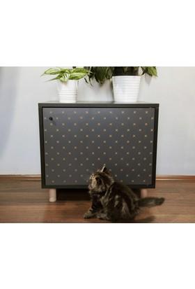 Jokolux Kedi Kumu Saklama Mobilyası Küçük Siyah