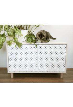 Jokolux Kedi Kumu Saklama Mobilyası Beyaz Meşe