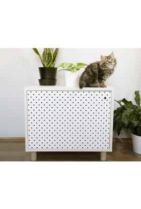 Jokolux Kedi Kumu Saklama Mobilyası Küçük Beyaz Meşe