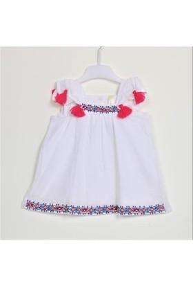 Bebeğime Cici Kız Bebek Püsküllü Çok Şirin İşlemeli Elbise