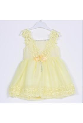 Bebeğime Cici Kız Bebek Dantel Askılı Günlük Düğün Nişan Kına Elbisesi
