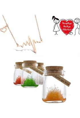 Soufeel Sevgiliye Büyüyen Renkli Yaşayan Kristaller Kalp Nabız Kolye Hediye