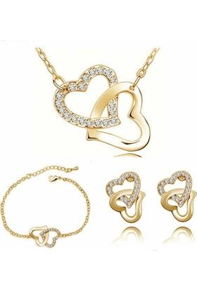 Soufeel Angemiel Kristal Taşlı Altın Kaplama Çift Kalp Kolye Küpe Bileklik Takı Seti