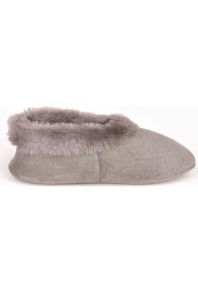 Pegia Hakiki Kürk Bayan Ev Ayakkabısı 990309 Gri