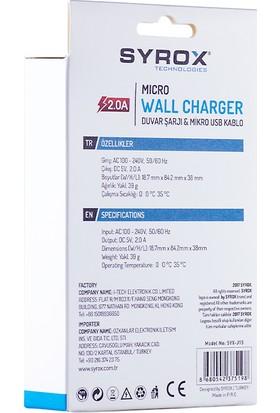 Syrox 2A Samsung Micro Usb Şarj Cihazı Syx-J15